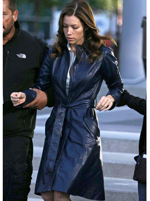 A Team Jessica Biel Trench Leather Coat