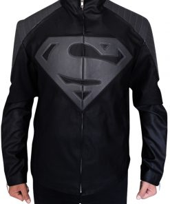 Black_and Grey Leather Superman Jacket
