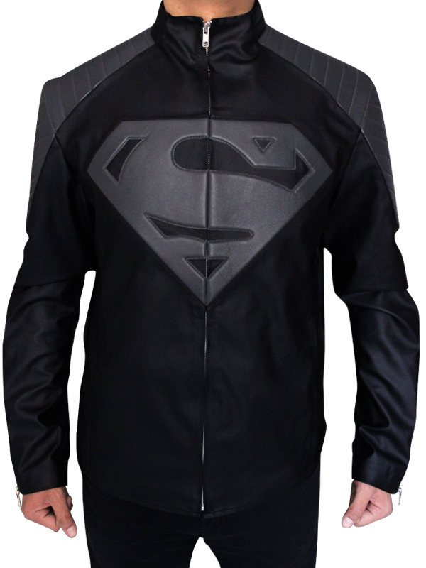 Black_and Grey Leather Superman Jacket