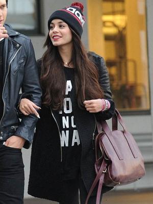 Leather Sleeve Vanessa Hudgens Leather Coat