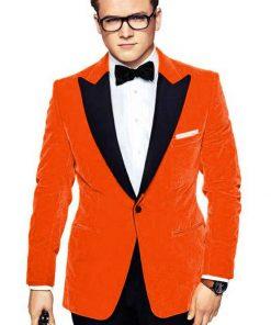 Taron Egerton Orange Coat