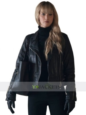 red sparrow black jacket