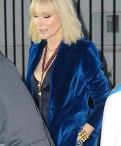Cate Blanchett Oceans 8 Blue Velvet Blazer