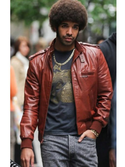 Aubrey Graham Maroon Leather Jacket