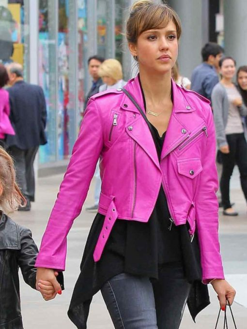 Jessica-Alba-Hot-Pink-Motorcycle-Leather-Jacket