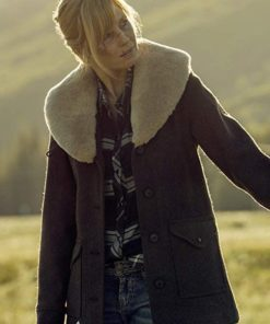 Kelly Reilly Yellowstone Brown Shearling Wool Coat