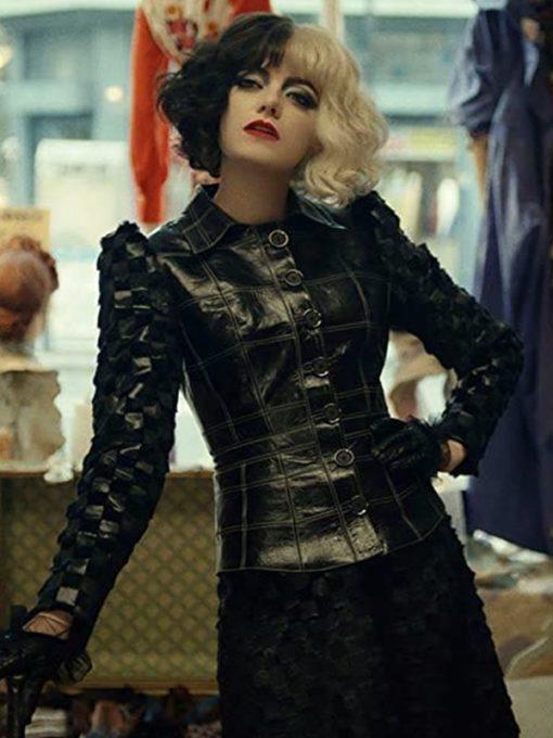 Emma Ston Cruella 2021 Black Leather Jacket
