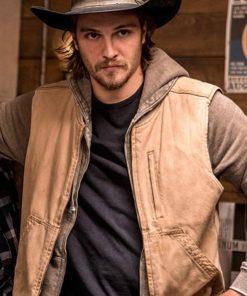 Luke Grimes Yellowstone Brown Cotton Vest