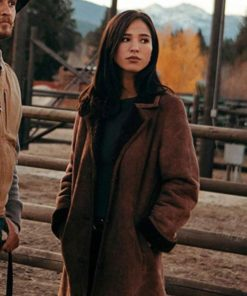Kelsey Asbille Yellowstone Brown Suede Leather Coat