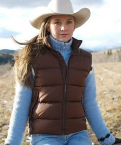 Amy Fleming Heartland Brown Quilted Puffer Vest