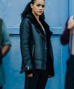 Nathalie Emmanuel Army of Thieves Shearling Leather Jacket