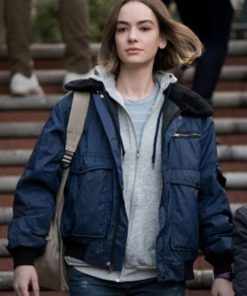 Brigette Lundy-Paine Atypical Blue Shearling Bomber Jacket