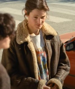 Vicky Krieps Beckett Shearling Leather Jacket