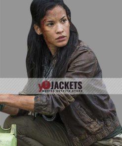Luciana Galvez The Walking Dead S04 Fear Brown Leather Jacket