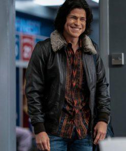 Cristo Fernández Ted Lasso Season 2 Black Shealing Leather Jacket