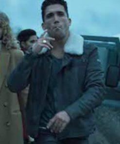 Jaime Lorente Money Heist Denver Shearling Leather Jacket