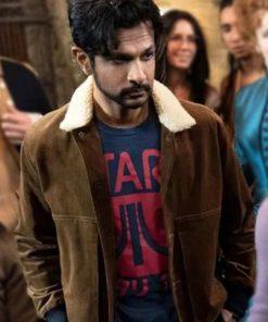Utkarsh Ambudkar Ghosts Brown Bomber Shearling Leather Jacket
