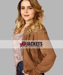 Mae Whitman Good Girls Fringe Suede Leather Jacket