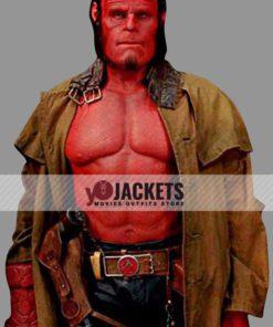 David Harbour Hellboy 2019 Duster Leather Coat
