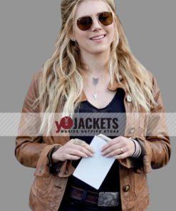Katheryn Winnick Big Sky Season 02 Brown Leather Jacket