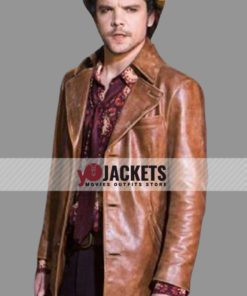 Andrew-Lee Potts Alice 2019 The Mad Hatter Brown Leather Jacket