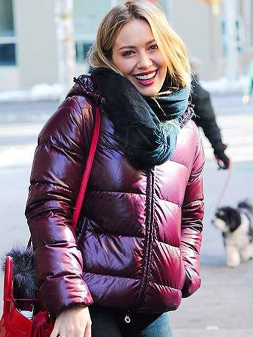 Hilary Duff TV Series Younger Kelsey Peters Maroon Puffer Jacket